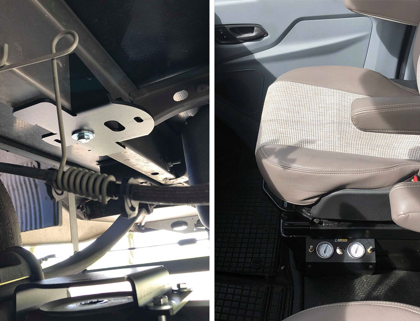 Vzduchové pérování na karavn Ford Transit 2017