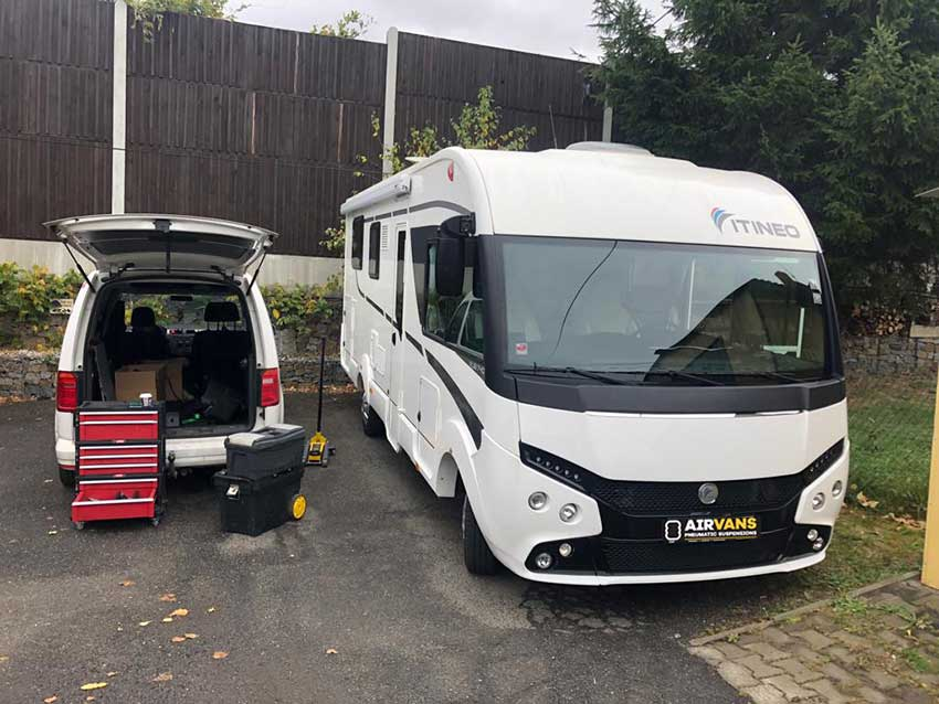 Vzduchové pérování na karavan ITINEO MBJ740 s podvozkem FIAT DUCATO